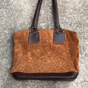 Vintage leather embossed shoulder purse